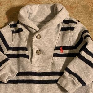 Ralph Lauren Polo Blue Gray Striped Onesie